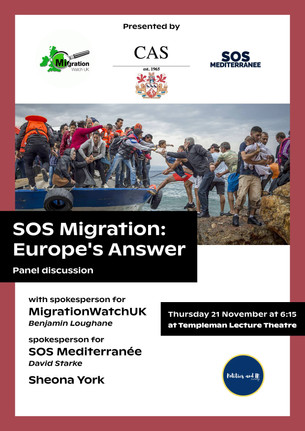"""""""SOS Migration: Europe's Answer"""": Join the debate with the Current Affairs Society"""