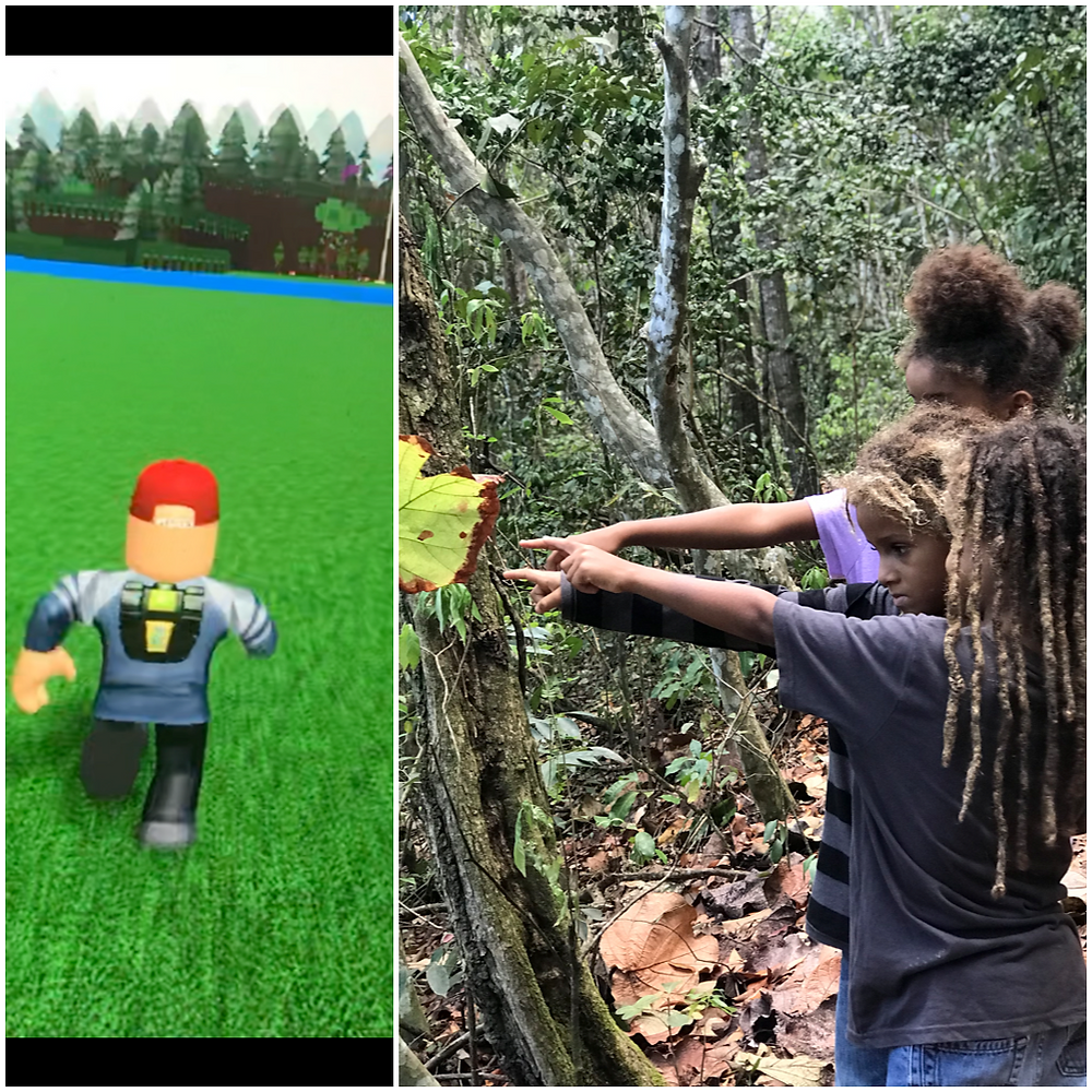 Three children pointing at a leaf and a screenshot from Roblox.