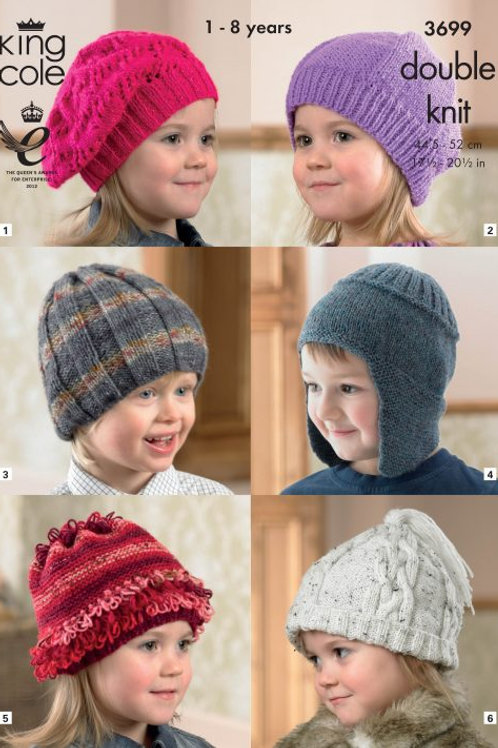 King Cole DK 6 Hats (1-8 years)