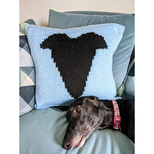 Greyhound Head Cushion (Digital Pattern)