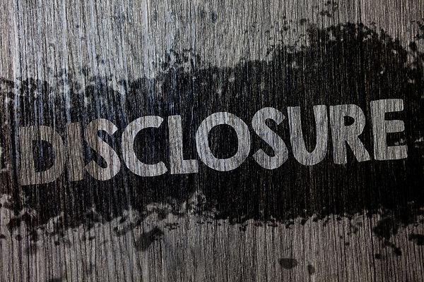 Text sign showing Disclosure. Conceptual