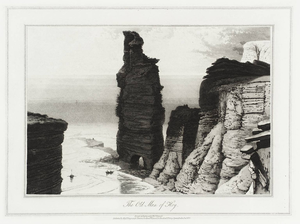 The Old Man of Hoy in the early 19th century with both legs