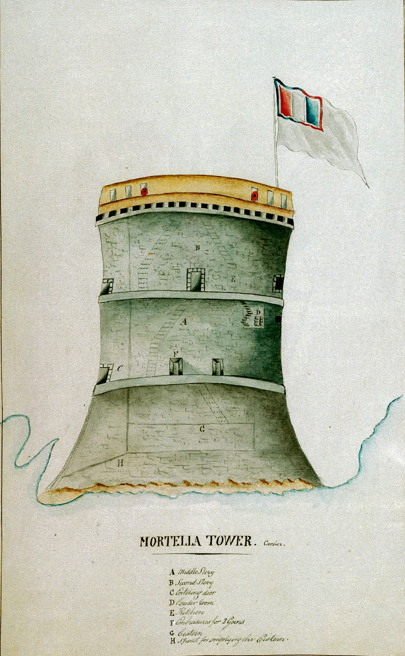 1794 drawing of the Mortella tower in Corsica