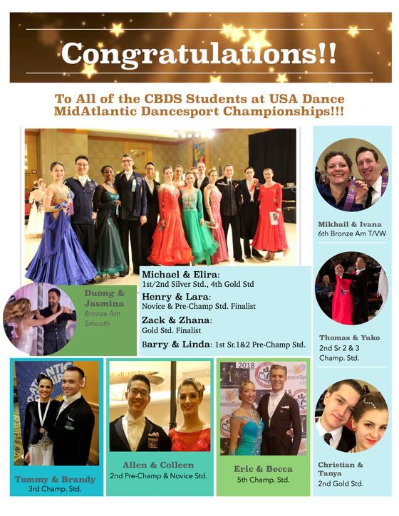 So Many Ribbons and Great Dancing at Mid-Atlantic Dancesport Championships!!