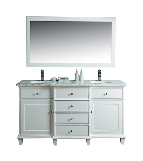 """Cadence White 60"""" Double Sink Vanity with Mirror"""