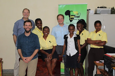 Eric Wingerter, Jake Ohman, and David Cusimano with the Jumpstart Africa Staff