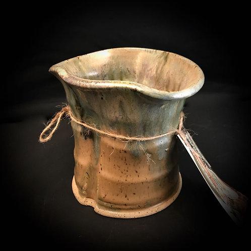 "#1742     Wide Low Rim   5"" x  4.5""  Stoneware Vase"