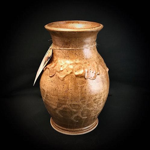 "#1722    Beautiful Clay Splash 9"" x  3.5"" Stoneware Vase"