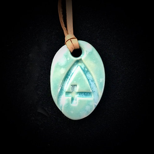 #1216   Small Ichthus Medallion Necklace