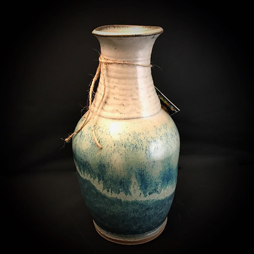 "#1728    Unique 10"" x  5"" Sculpted Stoneware Vase"