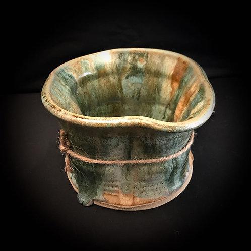 #1740    Narrow Low Rim  Stoneware Vase
