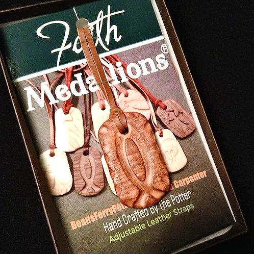#1188   Textured Brown Ichthus Medallion Necklace