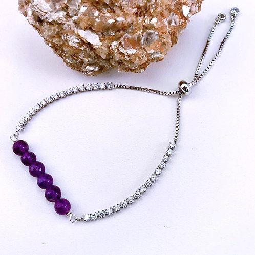 #1537   Silver/Amethyst Bracelet