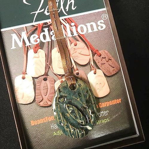 #1196  Blue Ichthus Faith Medallion Necklace