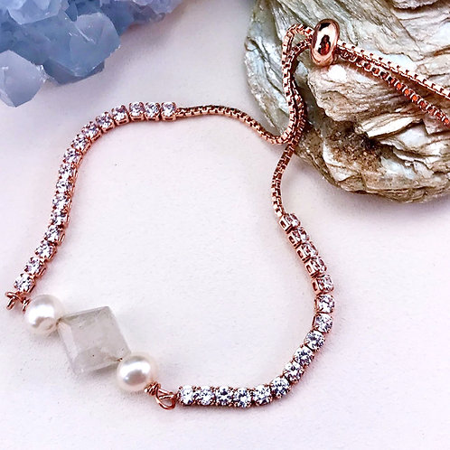 #1540   Rose Gold/Rutiliated Quartz/Pearl Bracelet