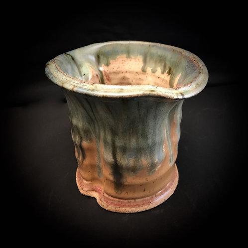 "#1743     Wide Low Rim   4"" x  4.5"" Stoneware Vase"