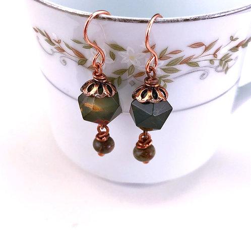 #1424   Red Creek Jasper Earrings
