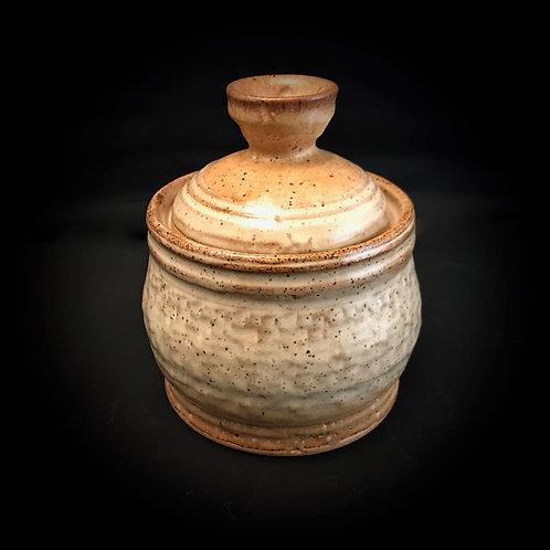 #1747     Covered Small Stoneware Vessel