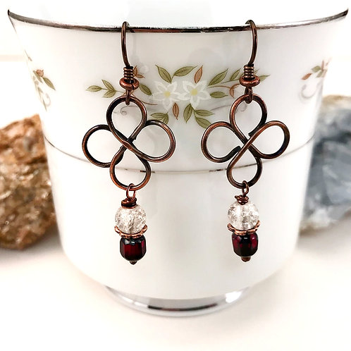 #1580   Large Red Clover Earrings