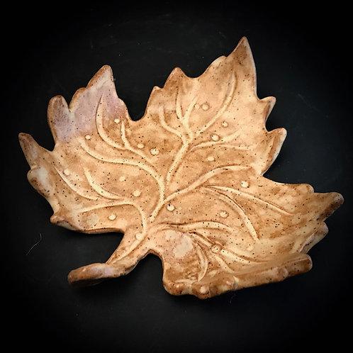 #1768    Hand-crafted Stoneware Leaf
