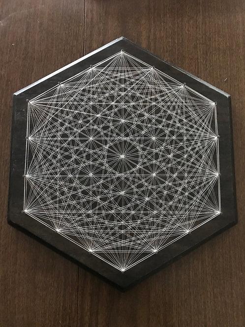 "Glow in the dark String Art Hexagon 16"""
