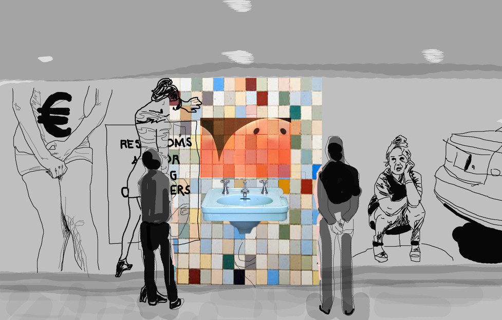 Urinary Arrogance Installation Sketch (with mural)