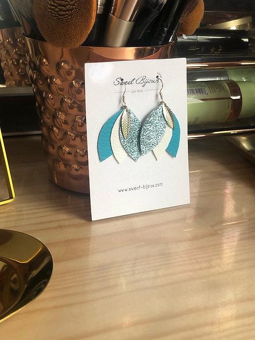 Boucles d'oreilles cuir 3 feuilles bleues