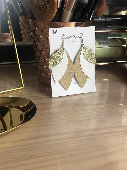 Boucles d'oreilles cuir feuille dorée