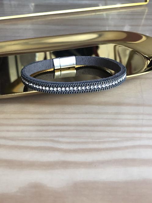 Bracelet suédine gris strass