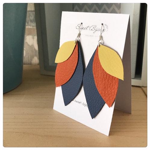Boucles d'oreilles Cuir Feuille Orange et Jaune