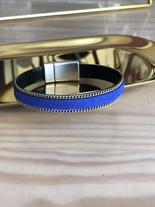 Bracelet cuir suédine bleu