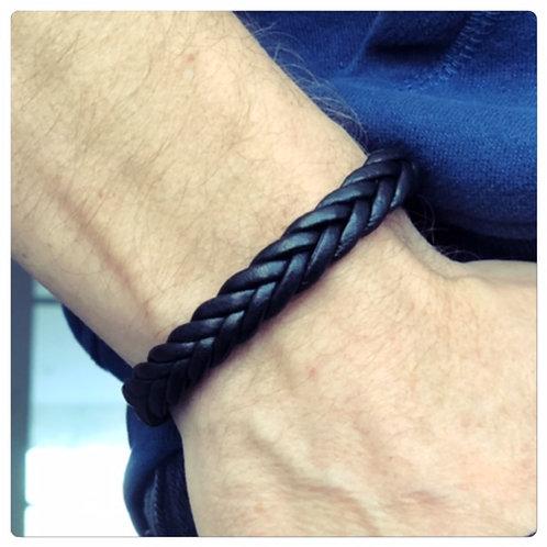 Bracelet Homme en Cuir 2 Tresses Noir