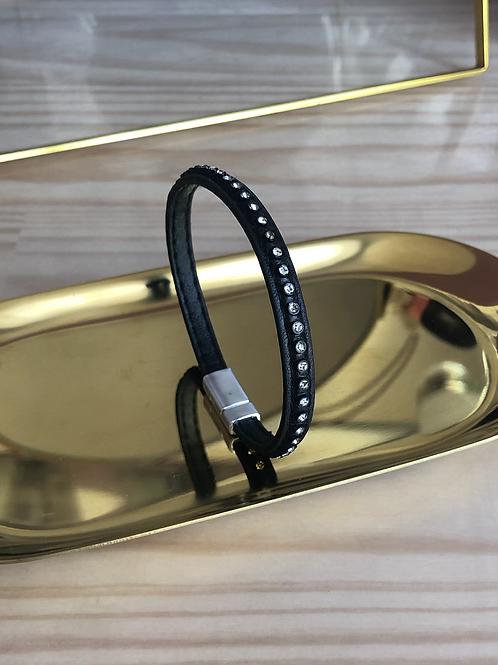 Bracelet cuir noir strass