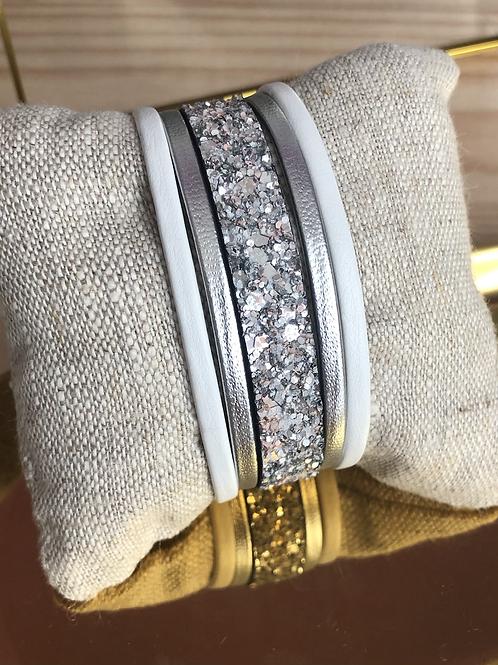Bracelet blanc et argent en cuir