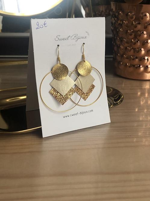 Boucles d'oreilles cuir doré pailletté