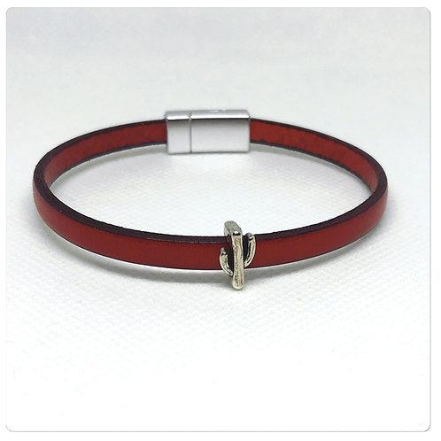 Bracelet Cuir Rouge et Cactus