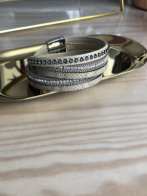 Bracelet double tour beige