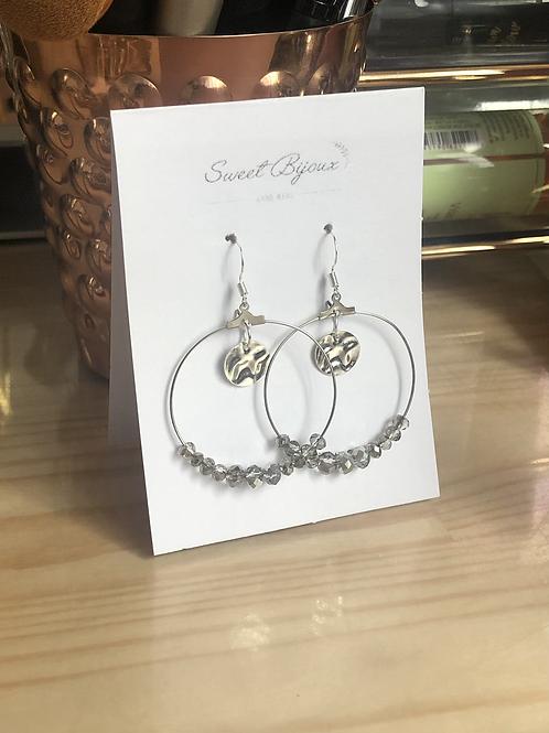 Boucles d'oreilles perles argentées