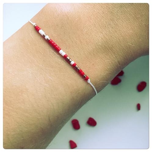 Bracelet Blanc Fin Rouge et Blanc