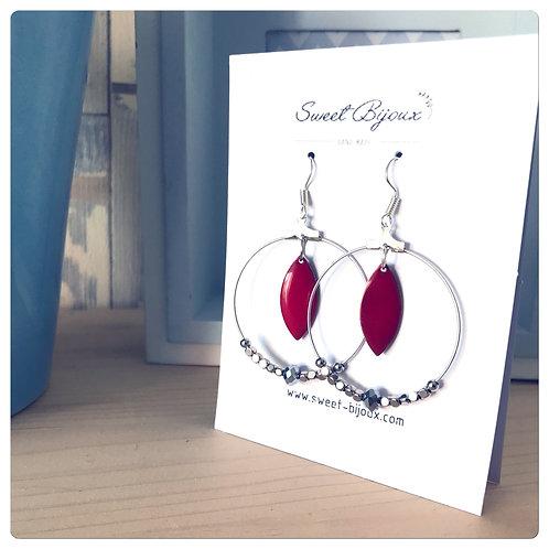 Boucles d'oreilles Perles Goutte Rouge