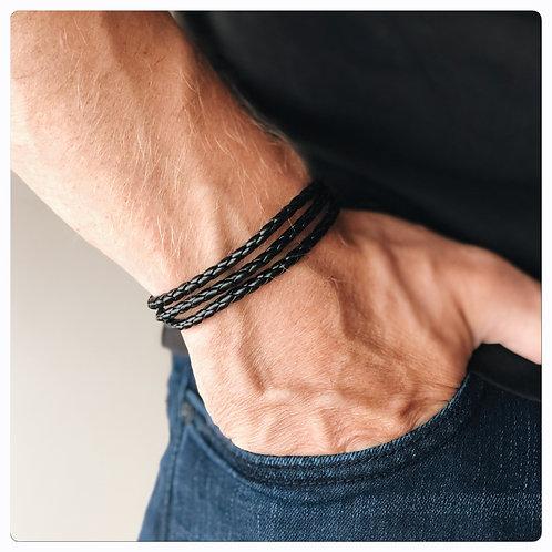 Bracelet Homme en Cuir Multi Tours Noir