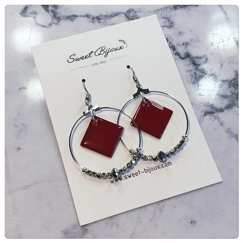 Boucles d'oreilles Perles Losange Rouge