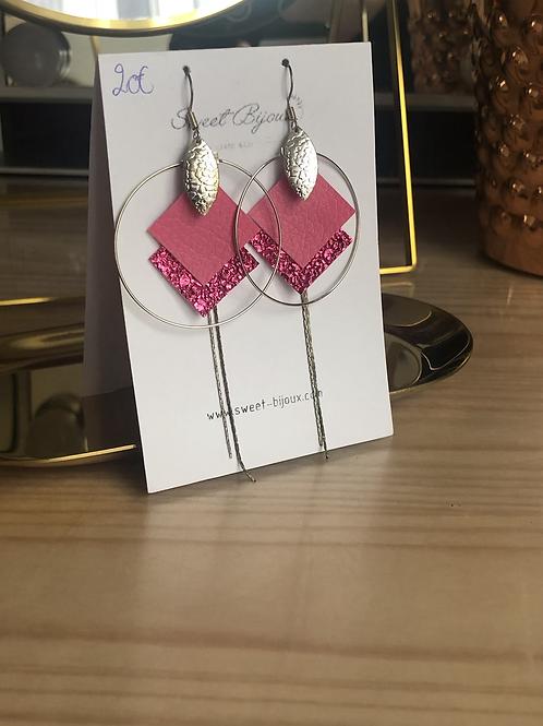 Boucles d'oreilles cuir rose + chaine