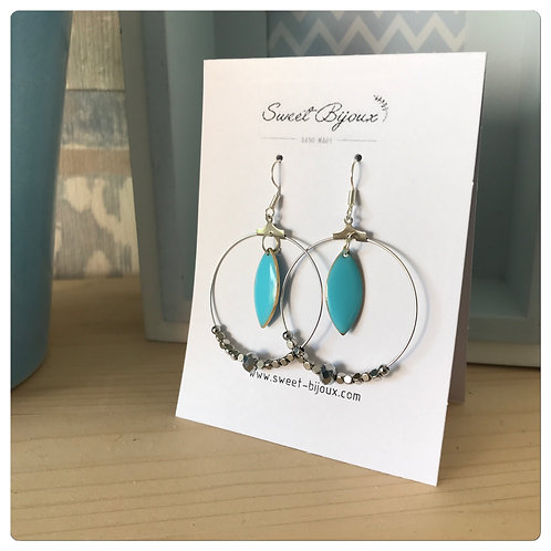 Boucles d'oreilles Perles Goutte Bleue