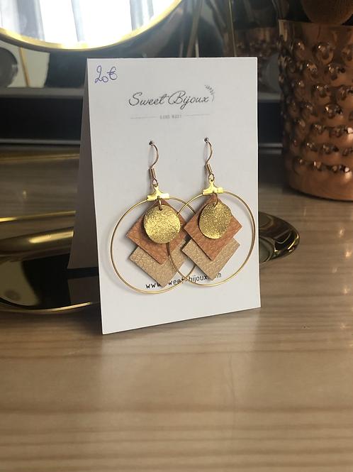 Boucles d'oreilles cuir ocre doré