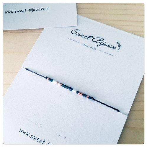 Bracelet Noir Fin Bleu Foncé et Blanc