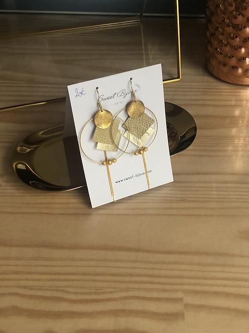 Boucles d'oreilles cuir doré + chaine