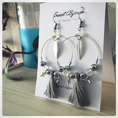 Boucles d'oreilles Perle et Pompon gris