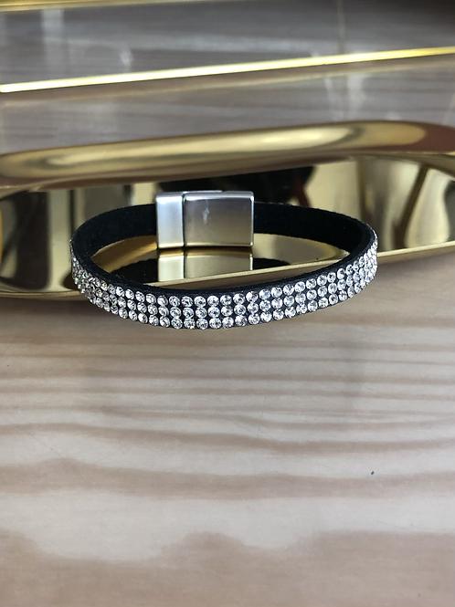 Bracelet noir strass en suédine