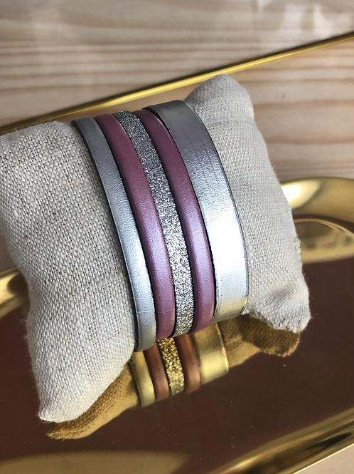 Bracelet rose et argenté en cuir